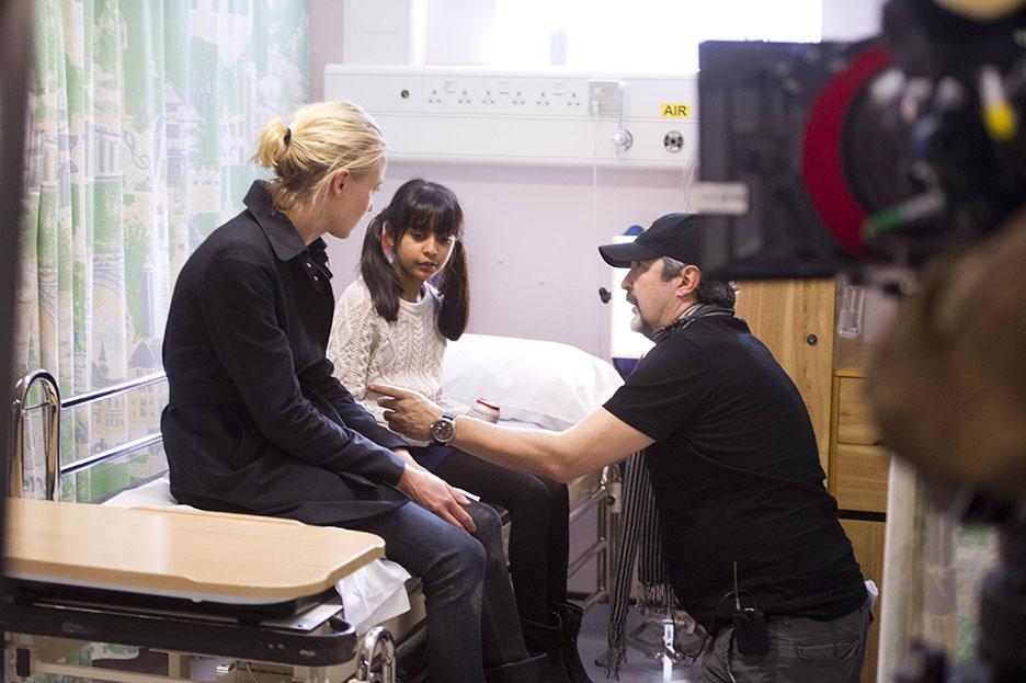 Yvonne Strahovski, Nikita Mehta, and Jon Cassar behind the scenes of 24: Live Another Day Episode 7
