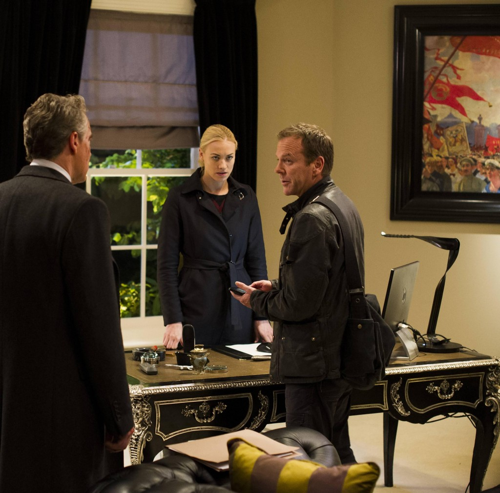 Jack Bauer (Kiefer Sutherland) and Kate Morgan (Yvonne Strahovski) look for intel in the 24: Live Another Day Finale
