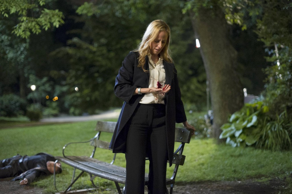 Audrey (Kim Raver) shot by Cheng's men in 24: Live Another Day Finale