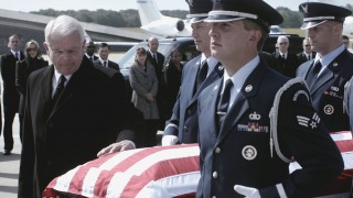 President Heller (William Devane) escorts Audrey's coffin to Air Force One in 24: Live Another Day Finale