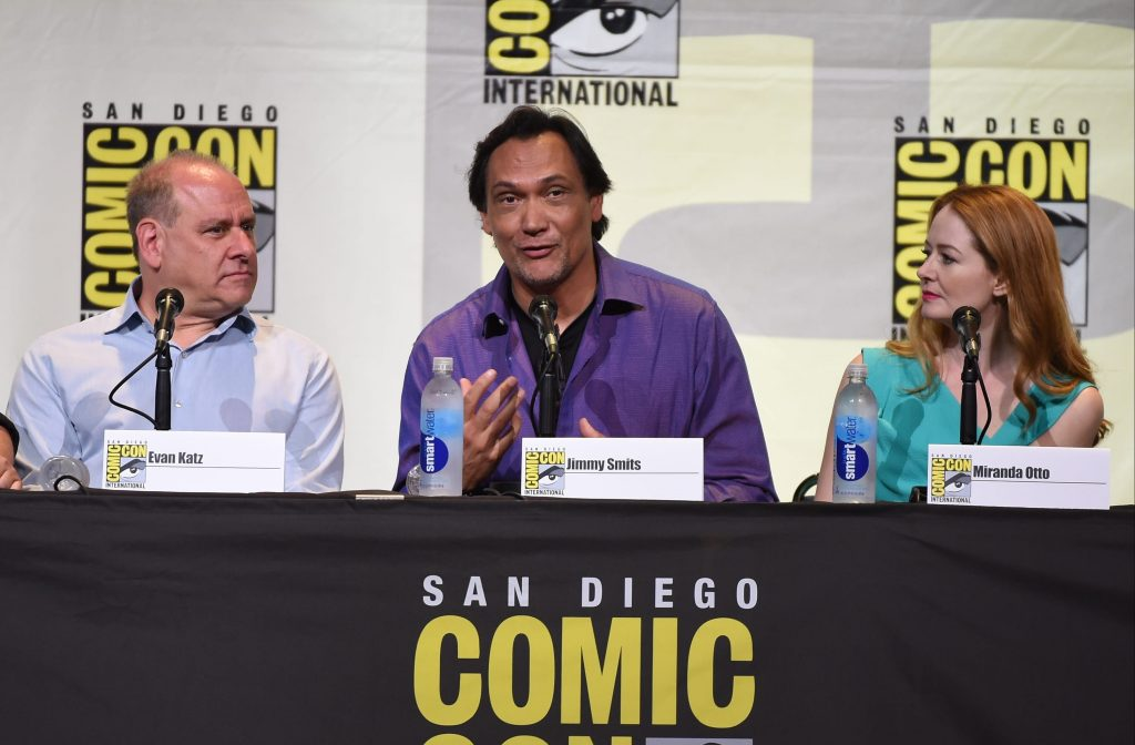 FOX FANFARE AT SAN DIEGO COMIC-CON © 2016: L-R: 24: LEGACY executive producer Evan Katz and cast members Jimmy Smits and Miranda Otto during the 24: LEGACY press room on Sunday, July 24 at the FOX FANFARE AT SAN DIEGO COMIC-CON © 2016. CR: Scott Kirkland/FOX © 2016 FOX BROADCASTING