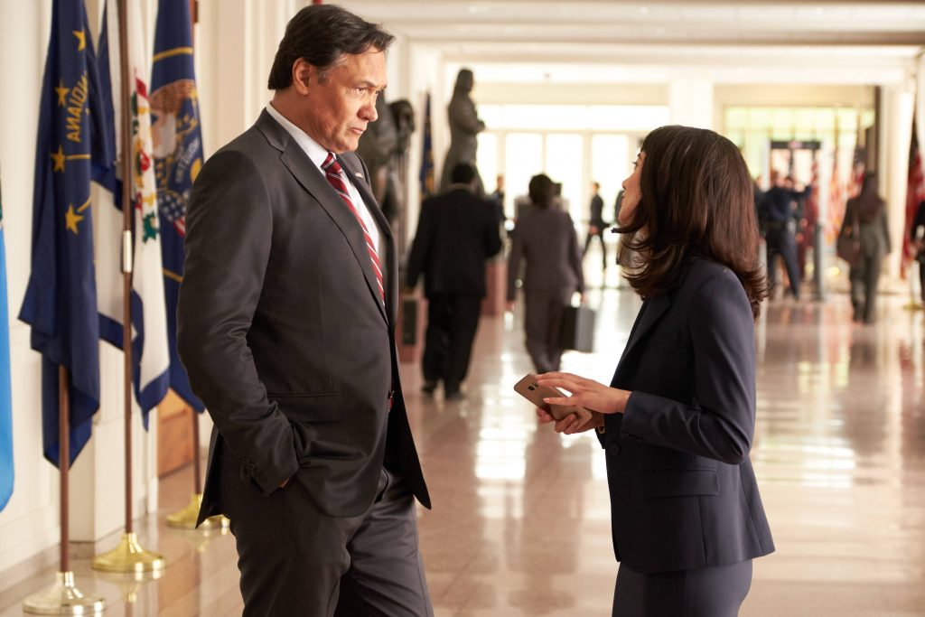 Jimmy Smits and Sheila Vand in 24: Legacy Pilot