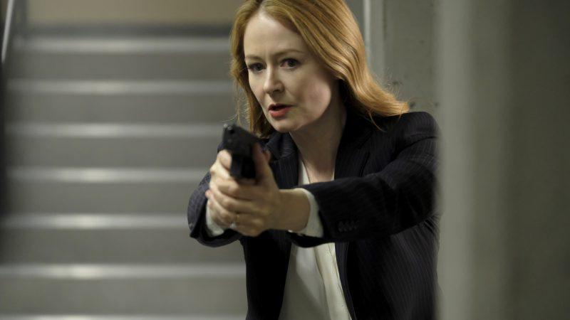 Rebecca Ingram with gun inside CTU - 24: Legacy Episode 9